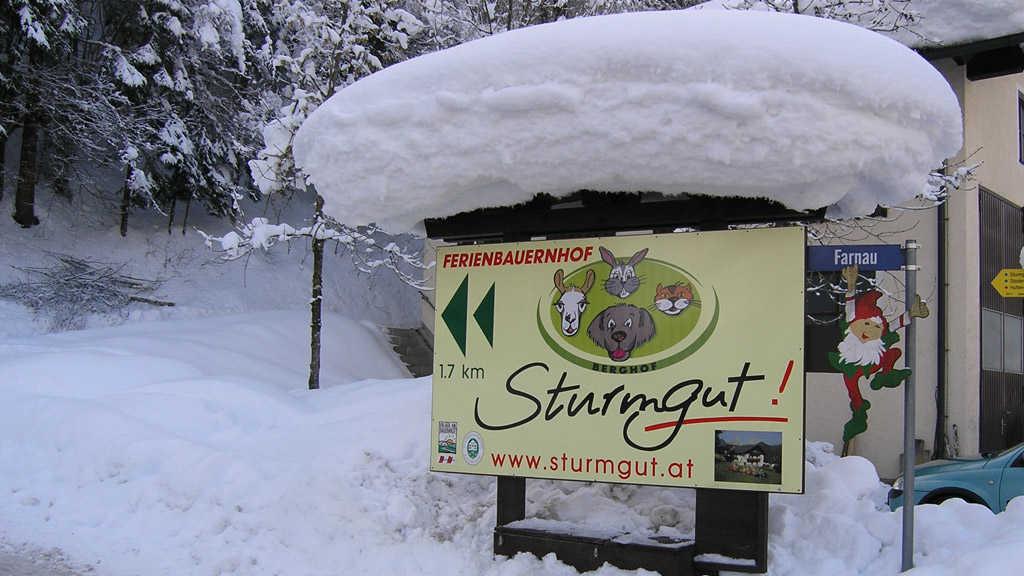 bei Schneefahrbahn Schneekettenpflicht - Kettenverleih bei Tankstelle im Ort